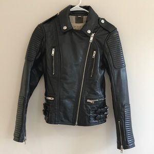 Women's BURBERRY BRIT 100% cow leather jacket sz 4